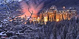 Fotos Kanada Winter Park Wälder Hotel Schnee Bäume Ast Banff Springs Alberta Städte