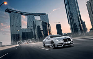 Wallpaper Bentley Houses Roads Skyscrapers Driving 2014 Ares Design Continental GT Cars