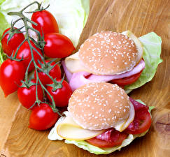 Desktop wallpapers Butterbrot Buns Tomatoes Hamburger Fast food 2 Food