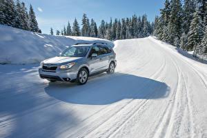 Fotos Subaru Silber Farbe Schnee 2016 Forester