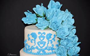 Bilder Süßware Torte Rosen Design Hellblau Farbigen hintergrund Lebensmittel