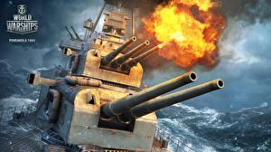 Fotos World Of Warship Schiffe Kanone Schuss Pensakola 1944 computerspiel Heer