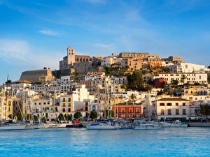 Hintergrundbilder Spanien Haus Küste Bootssteg Segeln Meer Mallorca Ibiza
