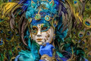 Papéis de parede Carnaval e baile de máscaras Máscara Pena Meninas