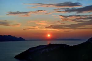 Images Croatia Sunrises and sunsets Sea Sky Sun Clouds Nature