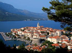 Picture Croatia Houses Berth Mountain Sea Korcula Cities