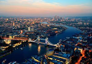 Bilder Vereinigtes Königreich Haus Fluss Brücke Morgendämmerung und Sonnenuntergang England London Megalopolis Von oben Städte