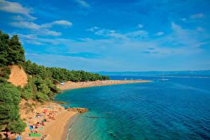 Picture Croatia Coast Island Sea Sky Beaches island Brac Nature