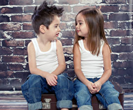Pictures Two Little girls Boys Jeans Sleeveless shirt Children