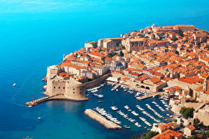 Photo Croatia Building Coast Marinas Motorboat Dubrovnik From above