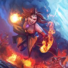 Pictures DOTA 2 Flame Lina Fantasy Girls