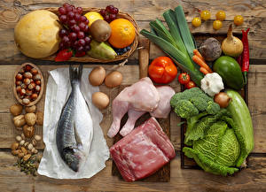 Picture Meat products Fish - Food Vegetables Cabbage Bell pepper Onion Allium sativum Fruit Grapes Melons Orange fruit Chinese gooseberry Nuts Egg Food