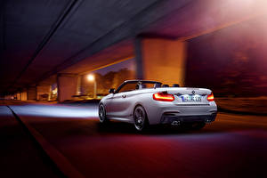 Image BMW Back view White Convertible Night Riding M235i Cabrio AC-Schnitzer Germany auto