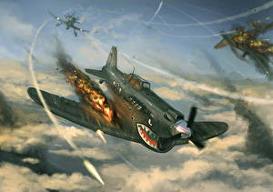 Wallpapers Airplane Painting Art Fighter Airplane War Firing Sharks of the Sky Aviation