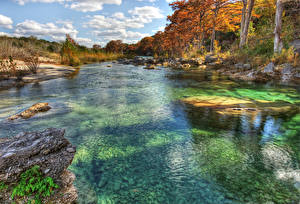 Images USA Rivers Autumn Stones Texas Trees Frio River Nature