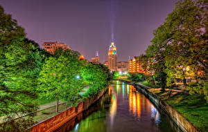 Picture USA Houses Texas Canal Night time Street lights Trees HDR San Antonio