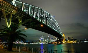 Bilder Brücken Australien Nacht Sydney Städte