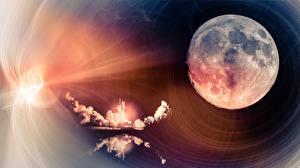 Fotos Großansicht Rakete Mond Weltraum