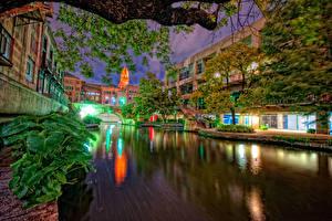 Wallpaper USA Houses Texas Canal Night Street lights San Antonio
