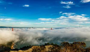 Hintergrundbilder Himmel Brücken Vereinigte Staaten Wolke San Francisco Natur