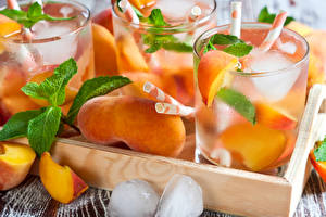 Wallpapers Drinks Peaches Highball glass Ice Food