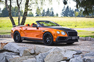 Bilder Bentley Cabrio Orange Luxus 2015 Mansory Continental GTC Autos