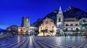 Sfondi desktop La casa Italia Sicilia Via della città Notturna Taormina Città