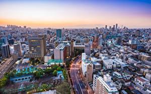 壁纸、、建物、東京都、日本、上から、メガロポリス、都市