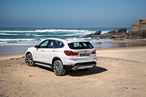 Images Coast BMW Sea Beach White Back view 2015 X1 xDrive xLine F48 Cars
