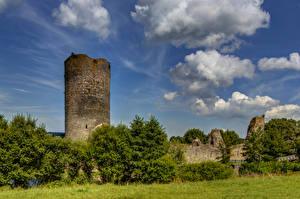 Fotos Deutschland Burg Ruinen Himmel Bäume Wolke Burg Balduinstein Ruine