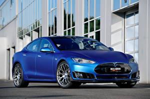 Bilder Tesla Motors Brabus Blau 2015 Brabus Model S Autos
