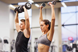 Bilder Mann Fitness Hanteln Trainieren sportliches Mädchens