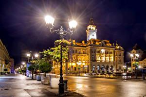 Photo Houses Serbia Street Night time Street lights Novi Sad Cities