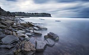 Hintergrundbilder Steine Küste Australien Sydney Whale Beach, Northern Beaches Natur