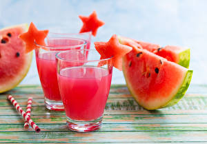 Image Watermelons Juice Highball glass Two Pieces Food