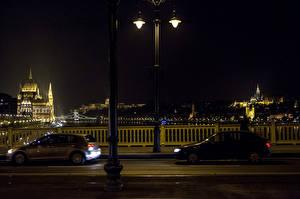 Fotos Budapest Gebäude Brücke Ungarn Nacht Straßenlaterne Städte