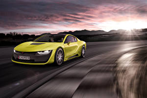 Desktop wallpapers BMW Tuning Sunrise and sunset Yellow 2015 Rinspeed Etos concept (BMW i8) Cars