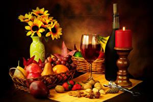 Wallpaper Still-life Wine Candles Fruit Nuts Strawberry Stemware Bottle Vase Food