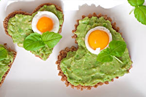Pictures Valentine's Day Butterbrot Bread Fried egg Foliage 2 Heart Food