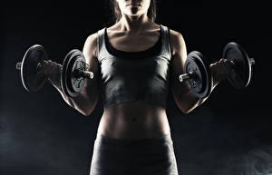 Hintergrundbilder Fitness Unterhemd Hanteln Trainieren Sport Mädchens