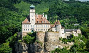 Bureaubladachtergronden Oostenrijk Burcht Bossen Falesia Schonbuhel Castle Steden
