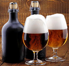 Pictures Drinks Beer Stemware 2 Bottles Food