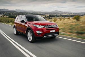 Papel de Parede Desktop Land Rover Vermelho Velocidade 2015 Discovery Sport automóvel