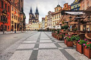 Pictures Houses Prague Czech Republic Street Pavement Cities