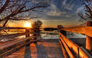 Bilder USA Sonnenaufgänge und Sonnenuntergänge See Kalifornien HDRI Zaun Merced National Wildlife Refuge Natur