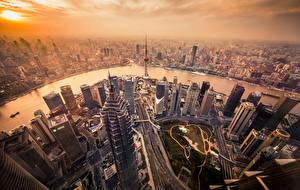Fotos Gebäude Wolkenkratzer China Shanghai Von oben Megalopolis Städte
