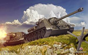 Image SPG World of Tanks 2 USSR SU-85 Games 3D_Graphics
