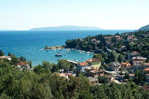 Pictures Croatia Building Berth Sailing Opatija Trees Cities