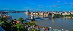 Bilder Brücke Fluss Ungarn Budapest Danube River Chain Bridge Städte