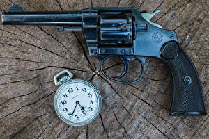 Image Closeup Pistol Clock Pocket watch Revolver 1906 Colt Police military
